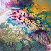 brown-trout-and-mayfly-abstract-fly-fishing-art-mike-savlen