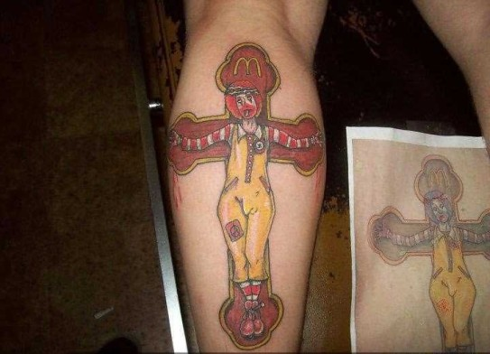 funny_colored_mcdonalds_clown_on_crucifix
